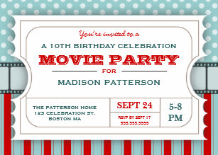 movie ticket invitations announcements zazzle au