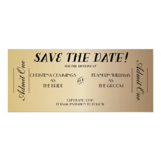 Movie Ticket Save the Date Announcement (Gold)