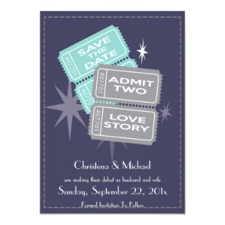 Movie Tickets Save the Date Card (Blue)