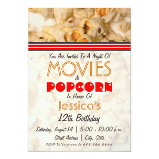 Movies & Popcorn Birthday Party Invitation
