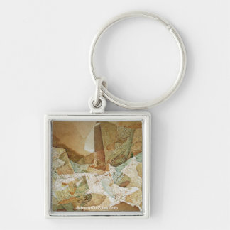 Movimiento Cosmico Silver-Colored Square Key Ring