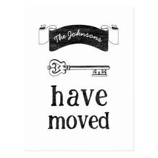 Moving Announcement Antique Key Post Card