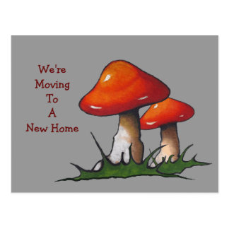 Moving Announcement: Bright Red Mushrooms: Art Postcard