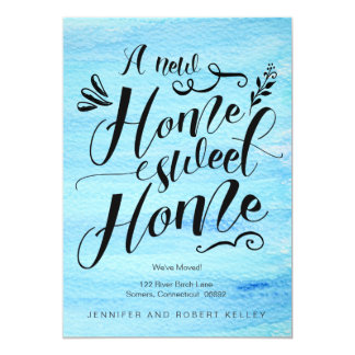 Moving Announcement, Home Sweet Home Typography 13 Cm X 18 Cm Invitation Card