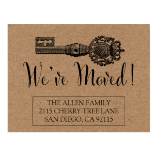 Moving Announcement Postcard - Vintage Key