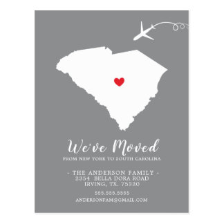 Moving Announcement State South Carolina Post Card