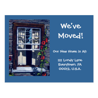 MOVING ANNOUNCEMENT, Window in Pastel Postcard