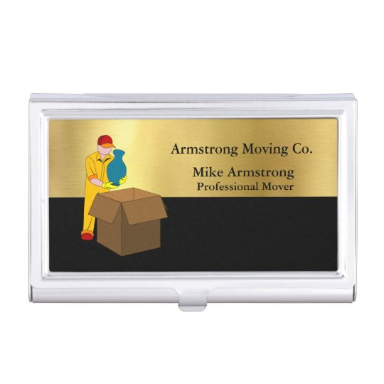 Moving Company Mover Black Gold Business Card Case