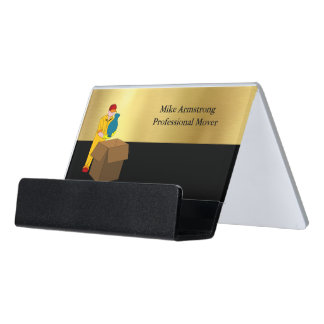Moving Company Mover Black Gold Desk Business Card Holder