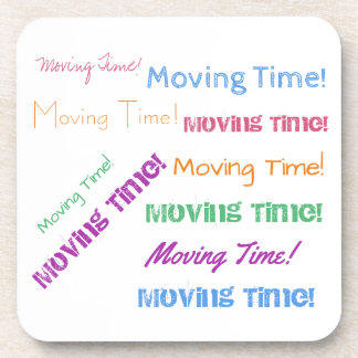 Moving Time in Colorful Text Coaster