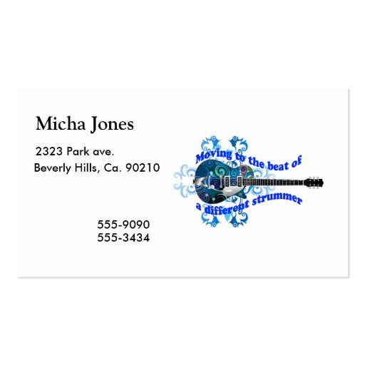 Moving To The Beat Of A Different Strummer Guitar Business Card Template