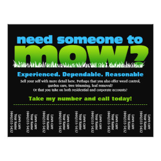 Mow Grass Lawn Care Earn Money 21.5 Cm X 28 Cm Flyer