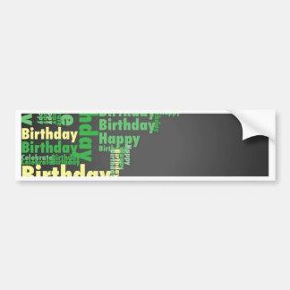 MOW Happy Birthday green.jpg Car Bumper Sticker