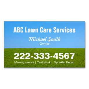 Lawn care business cards business card printing zazzle mowing lawn care green field grass blue sky magnetic business card reheart Gallery