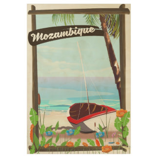 Mozambique Fishing boat cartoon vacation poster