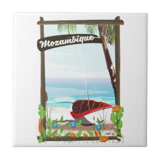 Mozambique Fishing boat cartoon vacation poster Ceramic Tile