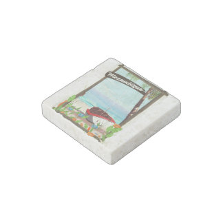 Mozambique Fishing boat cartoon vacation poster Stone Magnet