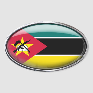 Mozambique Flag Glass Oval Oval Sticker