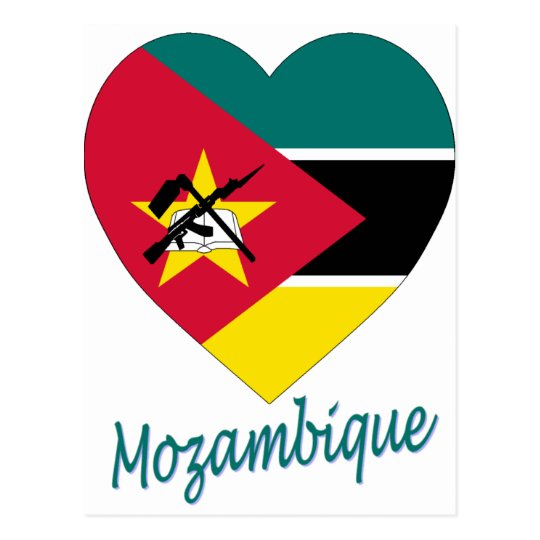 Mozambique Flag Heart Postcard