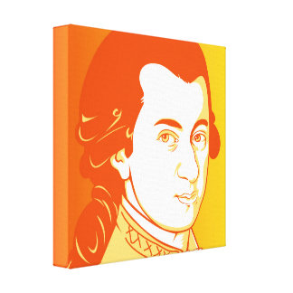Mozart on Canvas - Cartoon Style, yellow/orange
