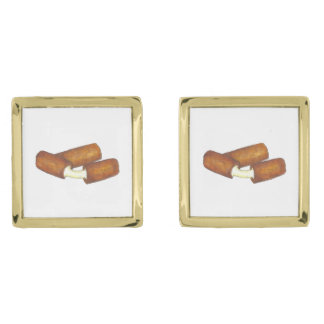 Mozzarella Cheese Sticks Junk Food Foodie Gift Gold Finish Cufflinks