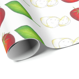 Mozzarella Tomato Basil Italian Food Cooking Wrap Wrapping Paper