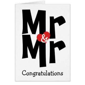 Mr and Mr Gay Wedding Black White Congratulations Greeting Card