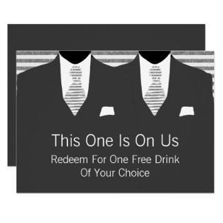 Mr and Mr Grey Suit and Tie Gay Wedding 9 Cm X 13 Cm Invitation Card