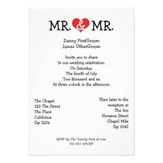 Mr and Mr Love Heart Gay Wedding Custom Invitation