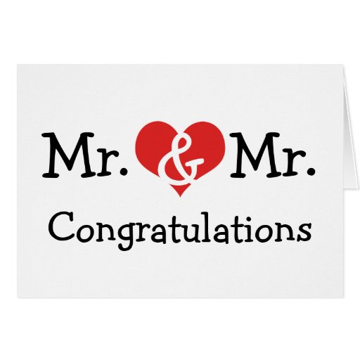 Mr and Mr Love Heart Wedding Congratulations Greeting Cards