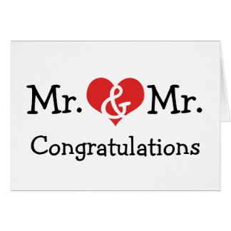 Mr and Mr Love Heart Wedding Congratulations Greeting Card