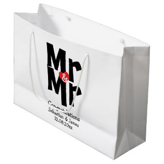 Mr and Mr Modern Personalized Black And Red Large Gift Bag
