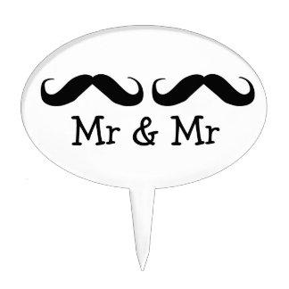 Mr and Mr Mustache Wedding v2 Cake Topper