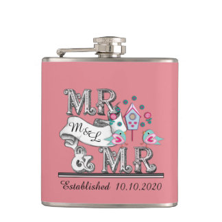Mr and Mr Personalized Gay Wedding Gifts Hip Flask