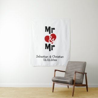 Mr and Mr Photo backdrop personalized gay wedding Tapestry