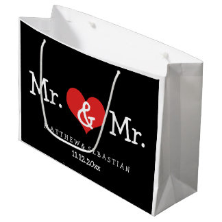 Mr and Mr Red Heart Wedding Personalized Large Gift Bag