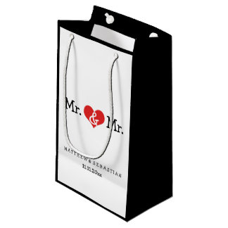 Mr and Mr Red Heart Wedding Personalized Small Gift Bag