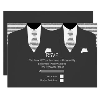 Mr and Mr Suit and Grey Ties Gay Wedding 9 Cm X 13 Cm Invitation Card