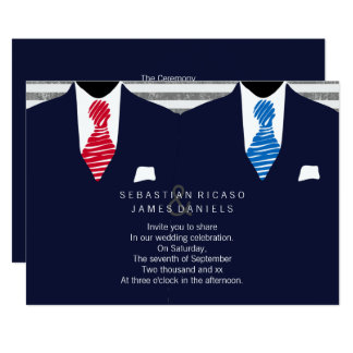 Mr and Mr Suit and Tie Gay Wedding (Blue Red) Card