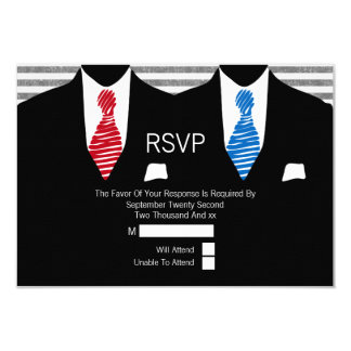 Mr and Mr Suit Red Blue Ties Gay Wedding RSVP Card
