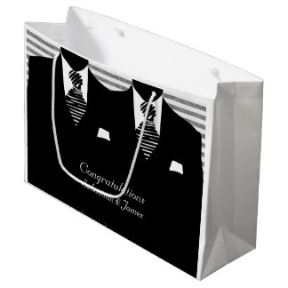 Mr And Mr Suits Black Wedding Personalized Large Gift Bag