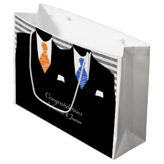Mr And Mr Suits Blue Orange Wedding Personalized Large Gift Bag