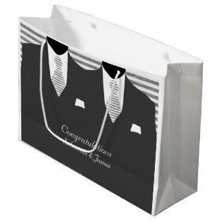 Mr And Mr Suits in Grey Wedding Personalized Large Gift Bag