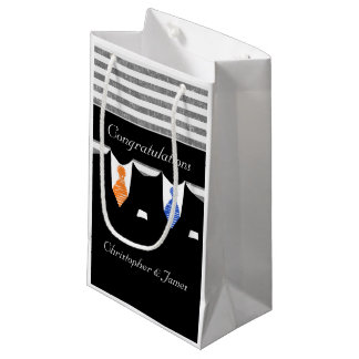 Mr And Mr Suits Wedding Personalized Blue Orange Small Gift Bag