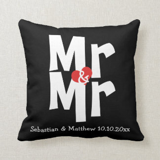 Mr and Mr Two Grooms Personalized Wedding Cushion