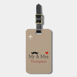 mr and mrs airplane travel personalized luggage tag