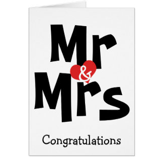 Mr And Mrs Big Bold Text Congratulations Wedding Card