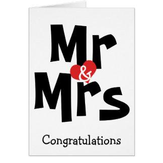 Mr And Mrs Big Bold Text Congratulations Wedding Card