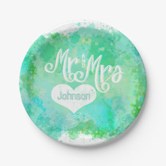 Mr. and Mrs. Blue Green Watercolor Style 7 Inch Paper Plate