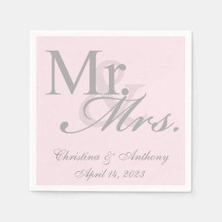 Mr. and Mrs. Blush Pink Wedding Paper Napkin
